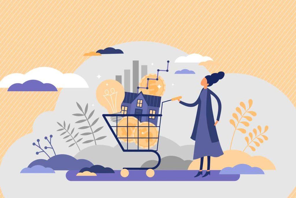 ワードプレスの料金|ブログ開設費用はいくら?|買い物かごに様々なものを入れている女性|賢く稼げ!副業ブログ・アフィリエイト
