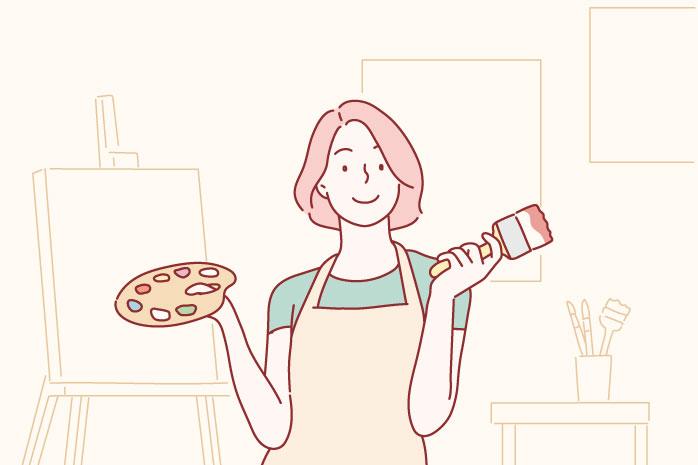第 2 章 自分のために働くのが世界の常識|絵描きの女性のイラスト|賢く稼げ!副業ブログ・アフィリエイト