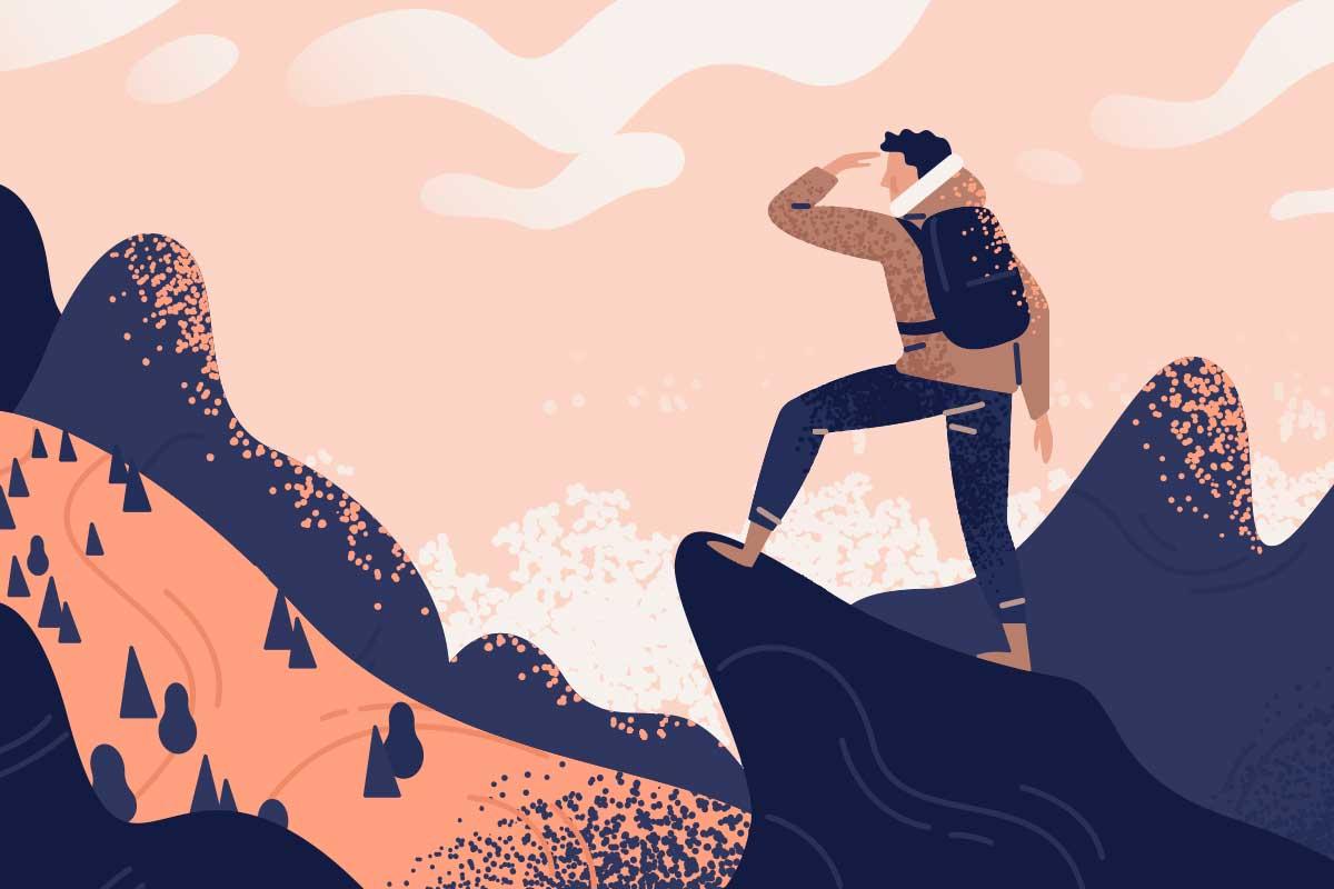 山に登る男性