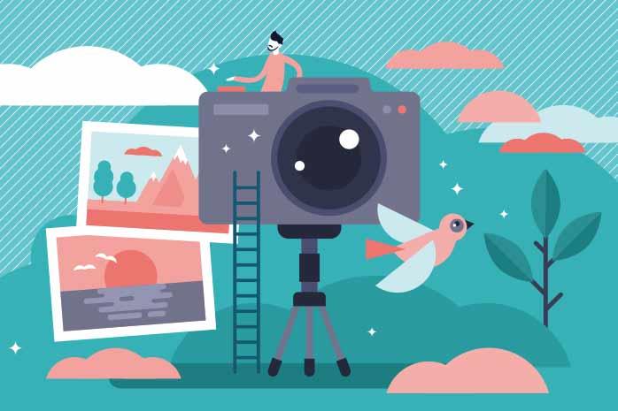 カメラで写真を撮っている人のイラスト