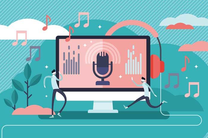 パソコンの音声認識機能を使う男性のイラスト
