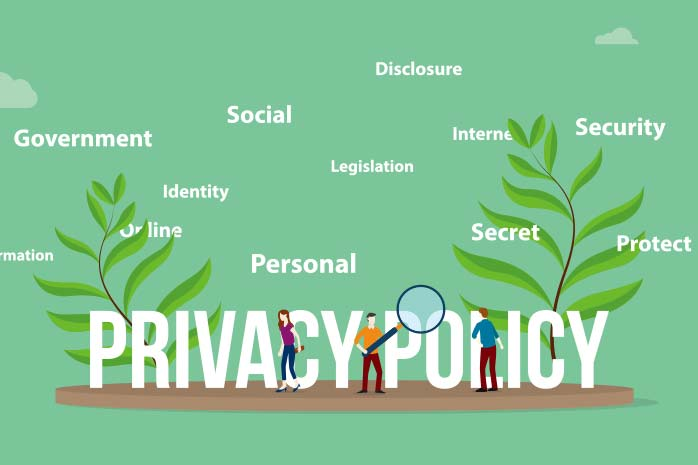 PRIVACY POLICYの文字を探している人のイラスト