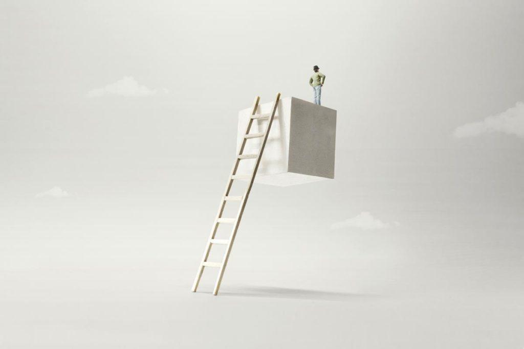 はしごを使い登る人