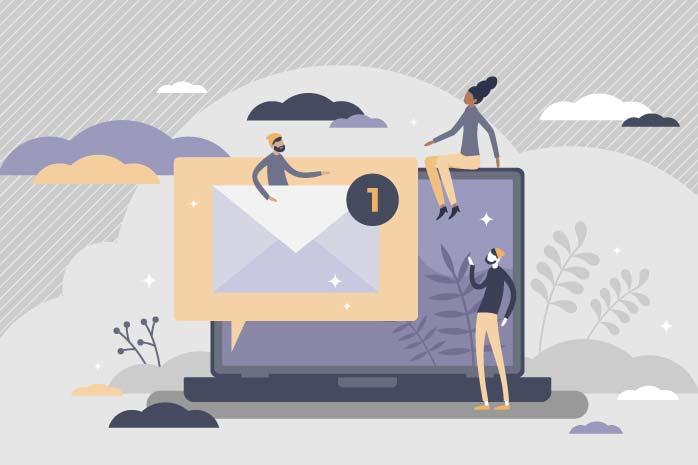 ブログサイトのお問い合わせフォームをみる男性のイラスト