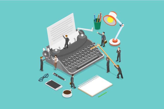 タイプライターの周りで記事を書く男性のイラスト