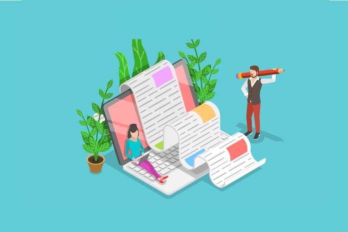 ブログ記事を書く男性と女性のイラスト