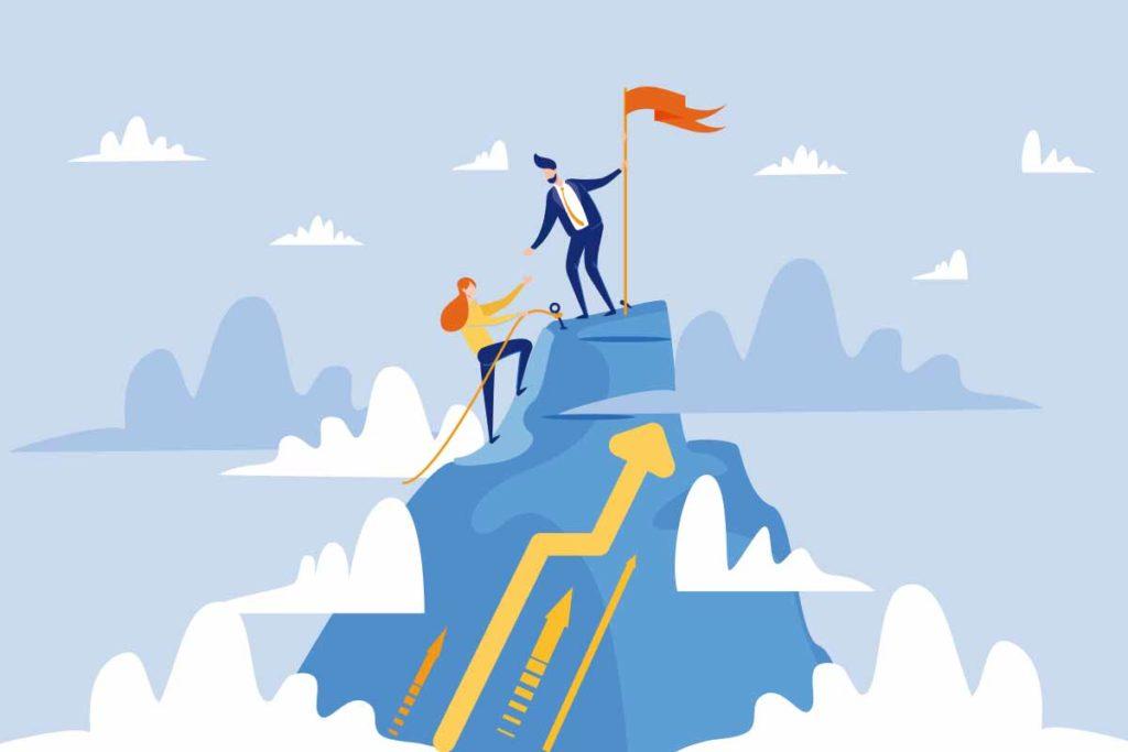 山を登って順位を上げているイラスト