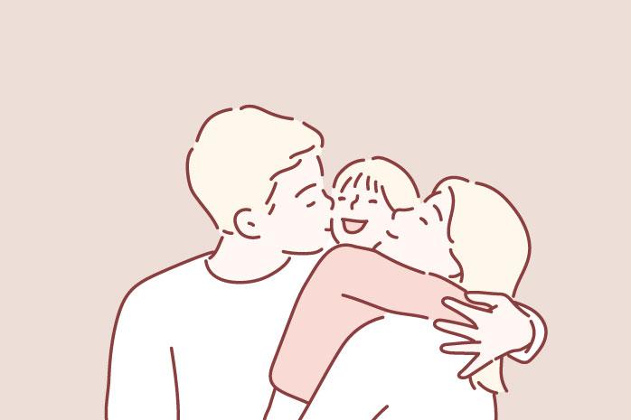 ハグをする家族のイラスト