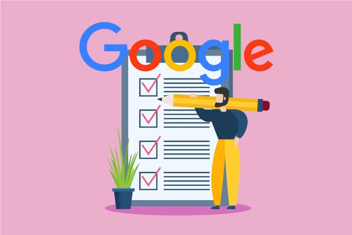 Googleのチェックリストにチェックを入れている人のイラスト