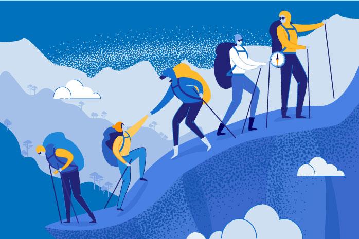 登山をしている人の列のイラスト