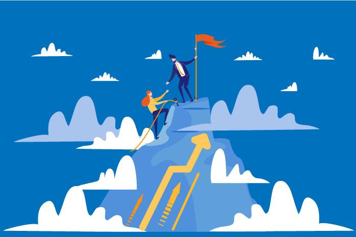 山頂にたどり着く男女のイラスト