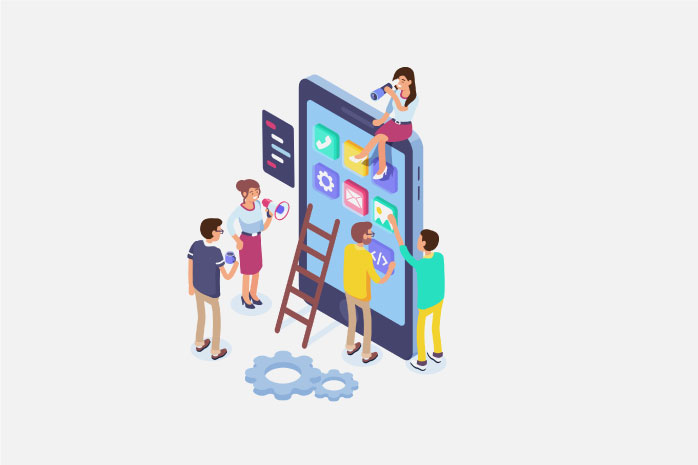 携帯電話に集まる人のイラスト