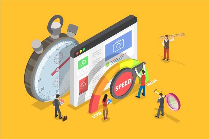 検索エンジンのスピードを図っている人のイラスト