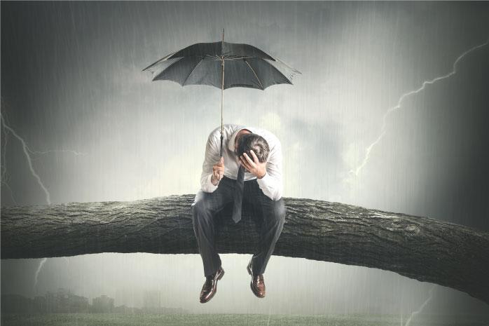 木の上で傘を指している男性の写真