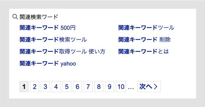 Yahoo!の関連キーワード結果